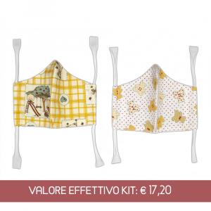 Kit mascherine in cotone per bambini