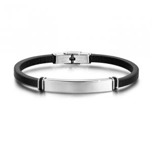Luca Barra - bracciale uomo in cuoio, silicone & acciaio