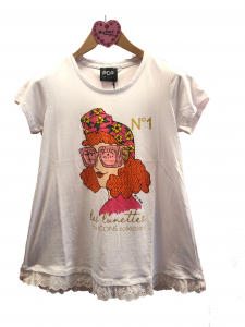 T-shirt stampa occhiali rosa