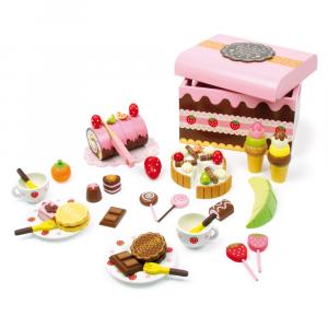 Contenitore-cestino per dolci-dolciumi in legno e accessori gioco per bambini