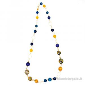 Collana con agata blu e agata gialla e sfere in ceramica di Caltagirone - Gioielli Siciliani