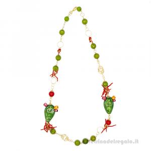 Collana con agata verde e rossa con fico d'India in ceramica di Caltagirone - Gioielli Siciliani