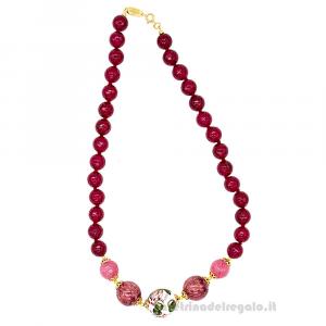 Collana con agata amarena e rosa  e sfere in ceramica di Caltagirone - Gioielli Siciliani