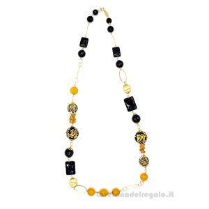 Collana con onice e agata giallo/arancio e sfere in ceramica di Caltagirone - Gioielli Siciliani
