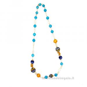Collana con agata azzurra e sfere in ceramica di Caltagirone - Gioielli Siciliani