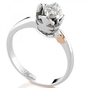 Anello solitario bimbo e bimba oro e diamante 0,20 carati