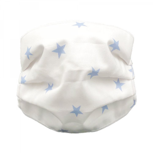 Mascherina lavabile Bambino Stelle Andy & Helen - Bianco-Azzurro