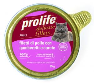 PROLIFE FILETTI DI POLLO GAMBERETTI E CAROTE 85 GR. - SCADENZA 29/03/2021