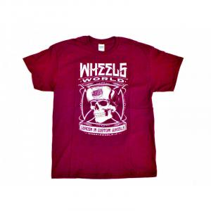 T-Shirt WHEELS WORLD SKULL for man - Rossa e Bianca