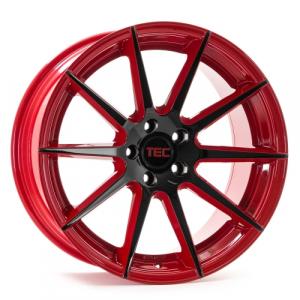 Cerchi in lega  Tec-Speedwheels  GT7  19''  Width 9,5   5x120  ET 38  CB 72,6    Rot-Schwarz-Glanz 2 Farbig