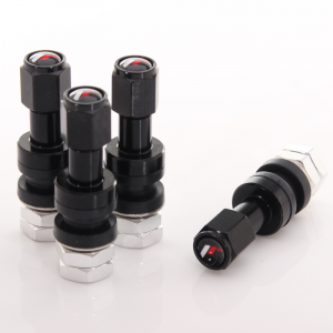 Set of Aluminum air valves JR v2 - BLACK + logo