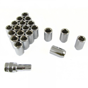 Set of SILVER imbus lug nuts 12x1,5 + Key