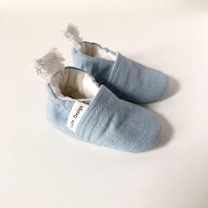 Scarpine neonato in lino biologico Azzurro