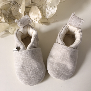 Scarpine neonato in lino biologico color beige