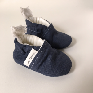 Scarpine neonato in lino biologico color blue navy