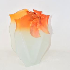 Vaso Vetro Bianco Arancione Sfumato 32cm Murano