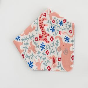 Bavaglino in cotone biologico modello bandana fantasia elefantino rosa