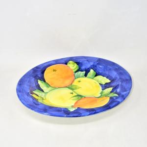 Porta Frutta Ceramica Sfondo Blu 45 Cm