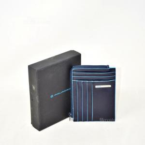 Porta Monete E Porta Tessere Blu Piquadro Originale