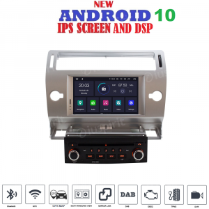 ANDROID 10 autoradio navigatore per Citroen C4 2004-2012 GPS DVD WI-FI Bluetooth MirrorLink