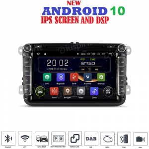 ANDROID 10 autoradio 2 DIN navigatore per VW Golf 6, Golf 5, Passat, Tiguan, Jetta, Polo, Touran, Caddy, Scirocco GPS DVD WI-FI Bluetooth MirrorLink