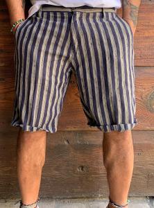 Bermuda rigato lino e cotone