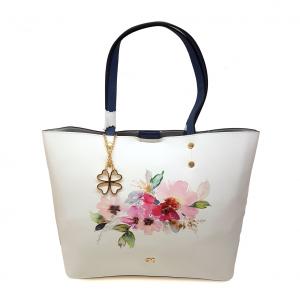 Shopper bianca/blu con stampa floreale Melluso