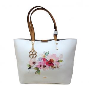 Shopper bianca/cuoio con stampa floreale Melluso