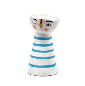 Vaso Dory ceramica riga azzurra