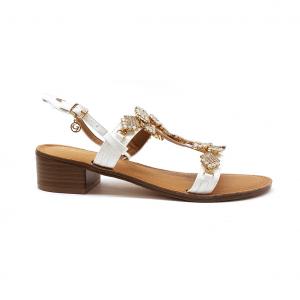 Sandalo bianco con decorazioni Gardini