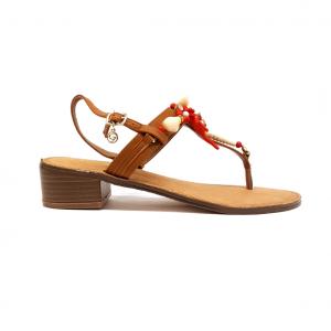 Sandalo cuoio con corallo Gardini