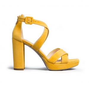 Sandalo giallo con listini incrociati Nero Giardini