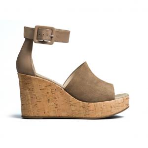 Sandalo taupe con zeppa sughero Nero Giardini