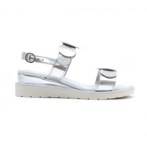 Sandalo argento con motivi geometrici Melluso