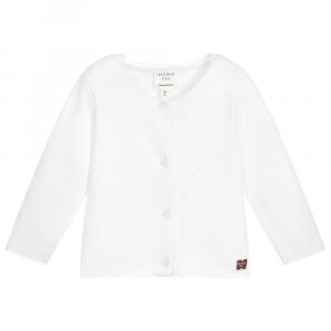 Cardigan scalda cuore bebè in cotone bianco traforato Carrément Beau
