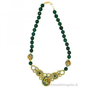 Collana in soutache con agata verde e sfere in ceramica di Caltagirone - Gioielli Siciliani