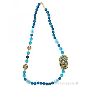 Collana in soutache con agata blu e goccia in ceramica di Caltagirone - Gioielli Siciliani