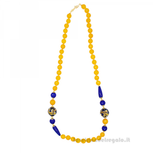 Collana con agata gialla e blu e sfere in ceramica di Caltagirone - Gioielli Siciliani