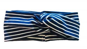 Righe blu scuro/bianco - fascia turbante