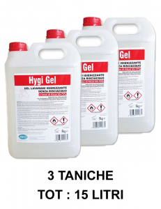 3 X GEL IGIENIZZANTE più del 70% alcol MANI SPEDIZIONE 24/48 ORE for le mani in tanica da 5 Kg a base di alcol 65-75% - for la disinfezione e sanificazione mani-2