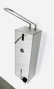 DISPENSER IGIENIZZANTE mani acciaio INOX distributore con LEVA a GOMITO für gel igienizzante sanificante mani 1 litro marca SYNCLEAN