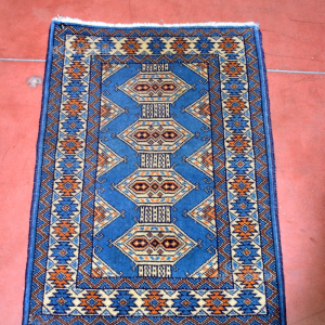 Tappeto Persiano 90*63 Cm Azzurro E Beige