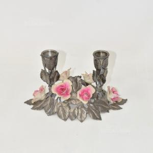 Porta Candela In Metallo E Fiori In Ceramica