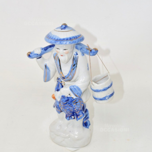Statua In Ceramica Cinese Uomo Con Secchio