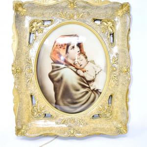 Icona Sacra Luminosa Madonna Con Bambino, 43*38 Cm