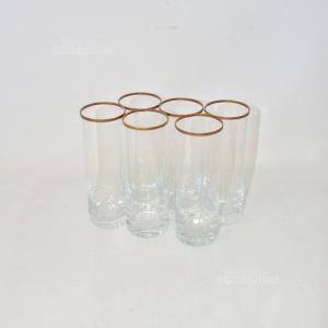 6 Bicchieri In Vetro Alti Con Bordo In Oro