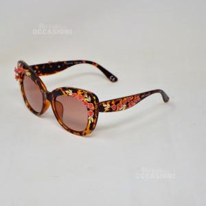 Occhiali Da Sole Coconuda Originali Tartarugato Dettaglio Floreale Dorato 3D