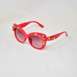 Occhiali Da Sole Coconuda Originali Rosso Fuoco Dettaglio Floreale Dorato 3D