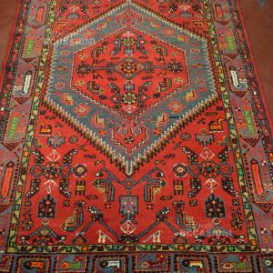 Tappeto Persiano In Lana 210*135 Cm Rosso Esagono Centrale