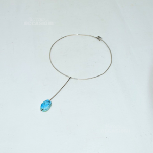 Collana In Argento Con Pendente Azzurro